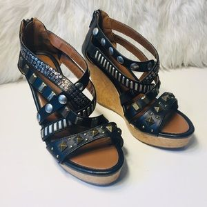 Candie's Strudded Black Wedges Size 8